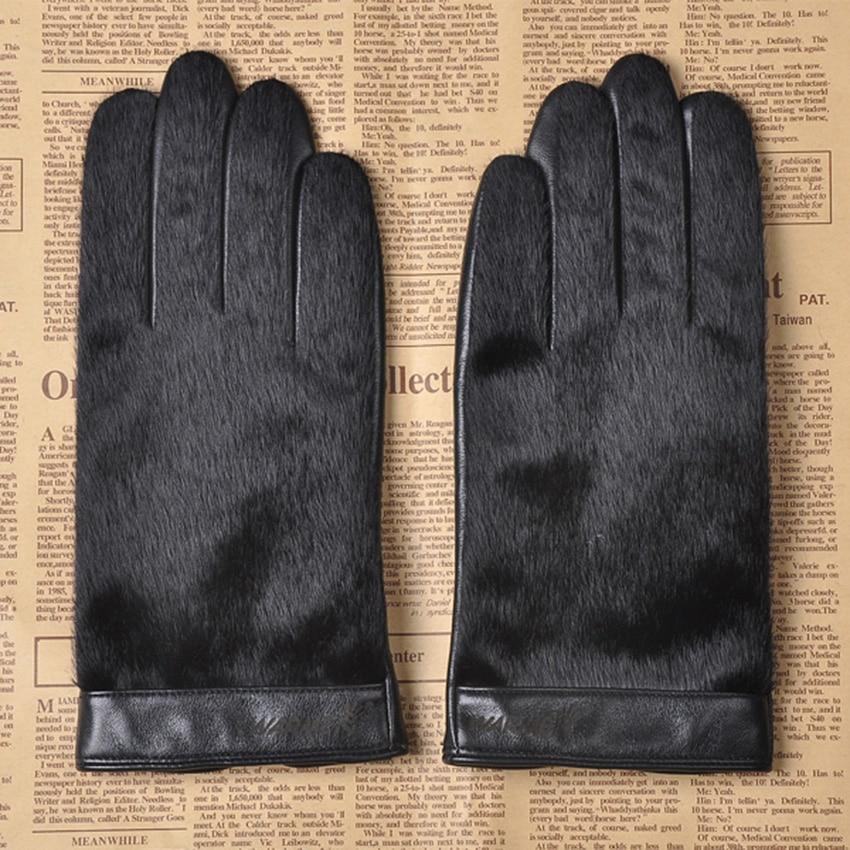 Перчатки из натуральной кожи мужские деловые перчатки из овчины Осень Зима плюс бархатные утепленные кожаные мужские перчатки из искусств...