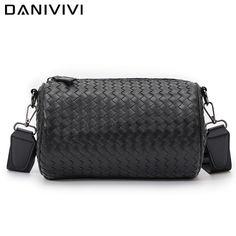 Soft Leather Shoulder Bag Men Crossbody Messenger Bags Woven Large Capacity Bucket Handbags Fashion