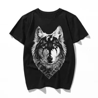 wolf head draw with the dragon summer 2019 cotton men t shirts t shirts o neck tops tees funny streetwear brand
