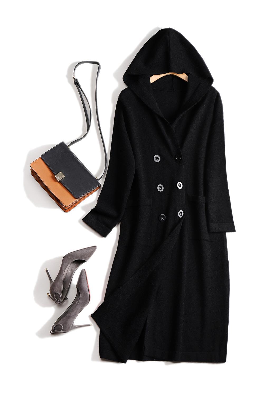 2020 abrigo largo tejido mezcla de lana con capucha caliente jersey de coreana Cardigans grueso suelto Chaquetas de punto Otoño Invierno Mujer