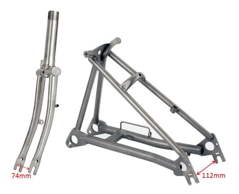 "Titanium Bike Fork For Brompton Folding Bicycle Front Fork Rear Triangle Frame 1&1/8"" Lightweight 16"" original Size Part"