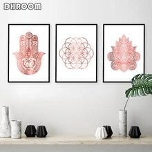 Affiche murale or Rose de Yoga imprimé dart   Affiche de fleur de vie, toile de peinture murale, décoration murale, décor de chambre moderne