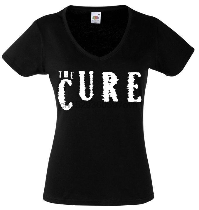 El logotipo de la cura para mujer señora camiseta Rock cuello en V