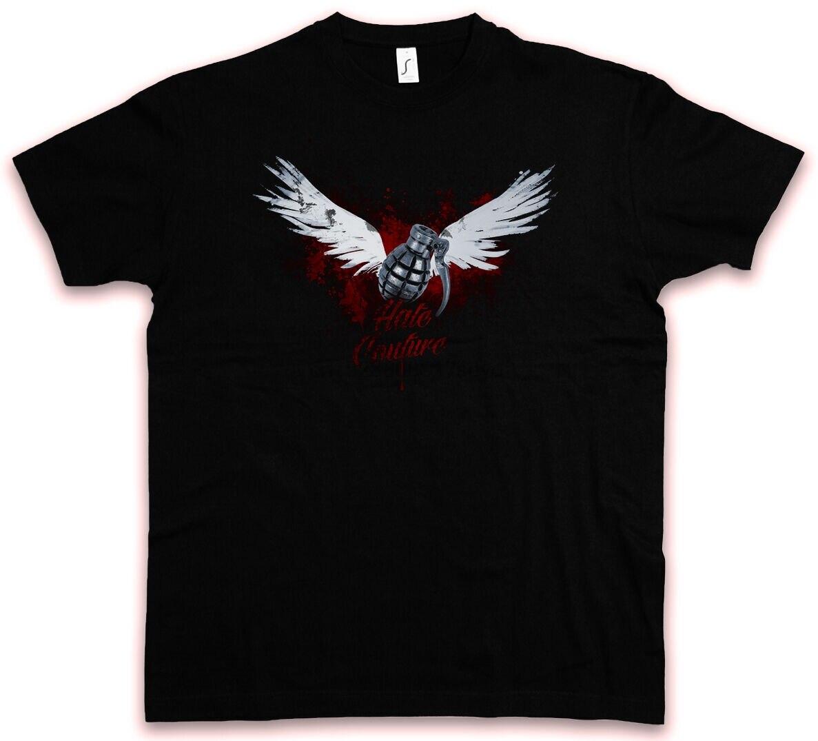 Hc alado 83 ódio couture tshirt granate guerra exército bomba tatuagem t camisa