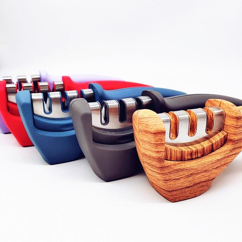 Afilador de cuchillos de tres etapas de doble cara, cuchillo de cerámica multifuncional, ángulo fijo, afilador rápido, utensilios de cocina 5MD056