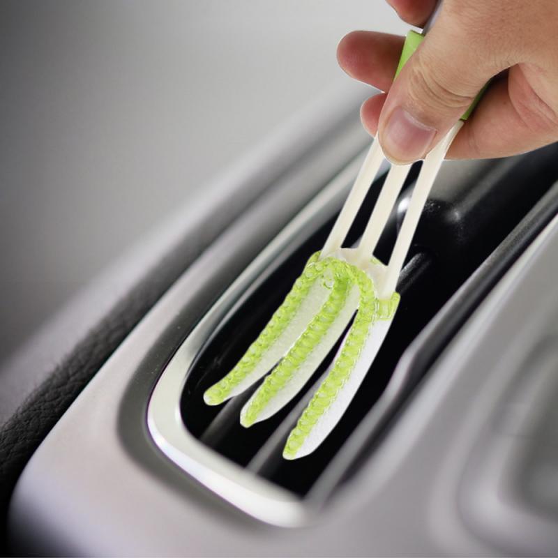 Limpiador de polvo de aire acondicionado para coche, herramienta de limpieza con enchufe, cepillo de limpieza de ventanas multifuncional, accesorios para coche