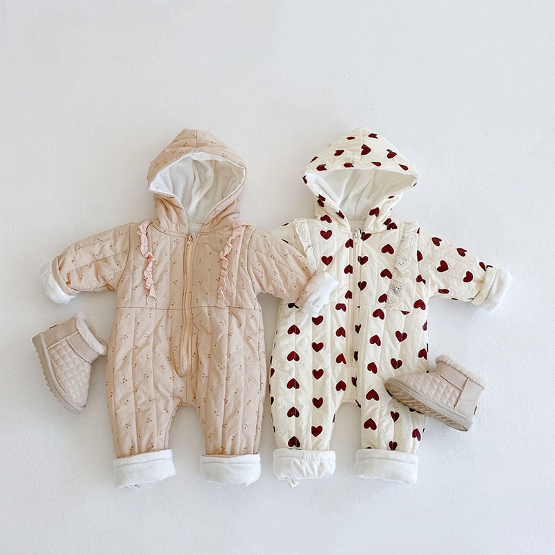 0-24M Plus Velvet Newborn Baby Lace Rompers Winter Autumn Warm Hooded Long-sleeve Jumpsuit Baby Girls Clothes Baby Outwear Cloth