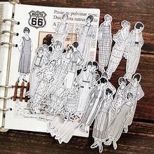 58 pièces/sac autocollants de caractère vintage noir et blanc bricolage scrapbooking album journal indésirable heureux planificateur autocollants décoratifs