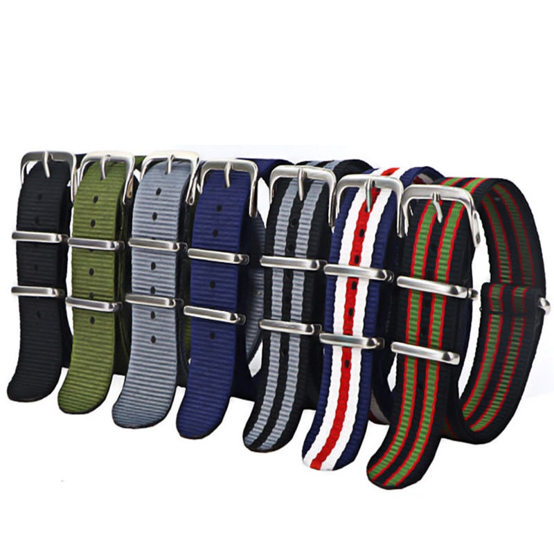 18mm 20mm 22mm Army Sports Nato Strap Fabric Nylon Watchband Buckle Belt for 007 James Bond Watch Bands Colorful Rainbow