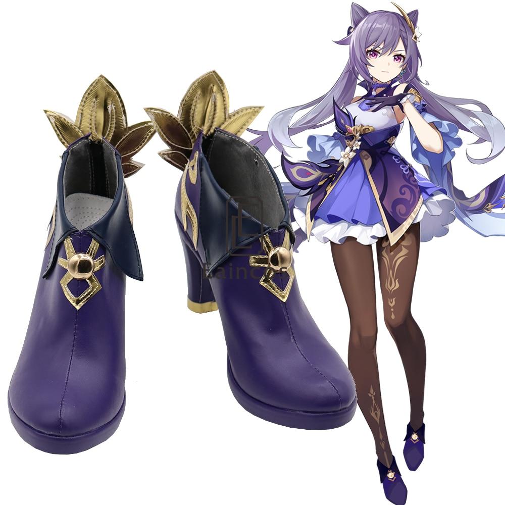 Game Genshin-أحذية Keqing التأثيرية القصيرة لحفلات الهالوين والمهرجانات ، أحذية فاخرة مصنوعة حسب الطلب