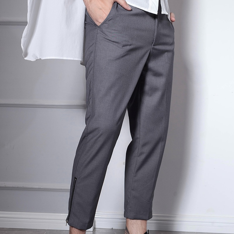 Light Gray Cropped Pants Pants with Zipper Europe and The United States Simple Wild Tide Men's Pants Men Clothing  Trousers