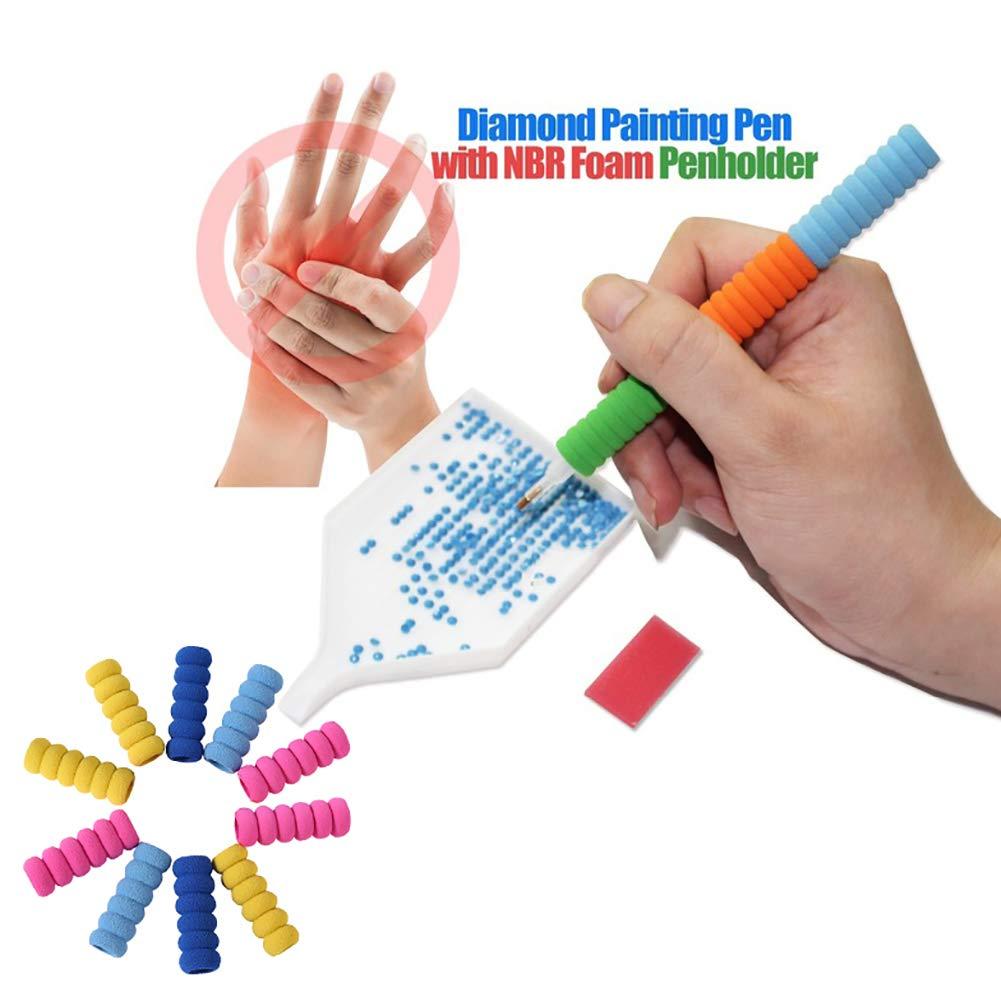 10 Uds. Accesorios de pintura de diamante bolígrafo para bordar herramientas de cubierta de esponja de diamantes de imitación mosaico punto pluma cubierta de Color al azar