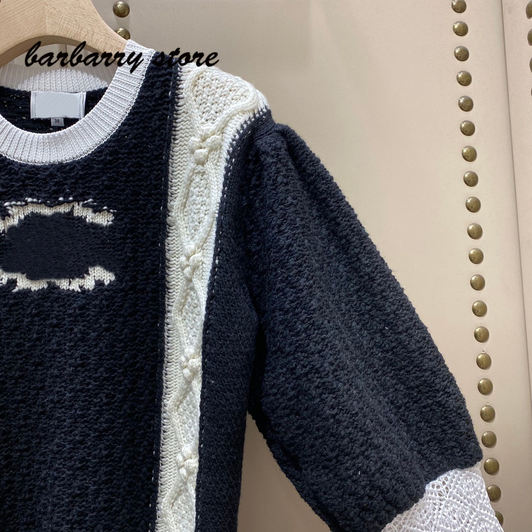 luxury design color blocking embroidery letter printing fashion women's versatile round neck retro bubble long sleeve Pullover enlarge