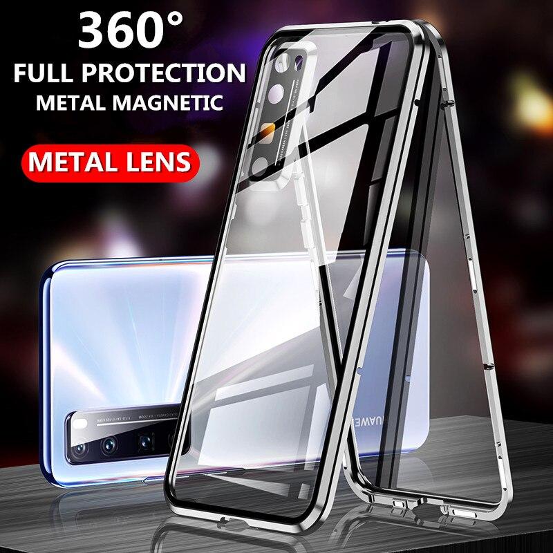 Für Huawei Nova 7 Pro/Nova 7i 5G Fall Metall Kamera Objektiv schutz Glas film Fall Magnetische Glas für Nova 5/Nova 6SE Zurück Abdeckung