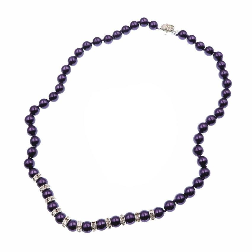 "Joyería Simple púrpura para mujer collar de cuentas redondas collar de perlas de concha de cristal collares de accesorios de moda cadena 18 ""B129"