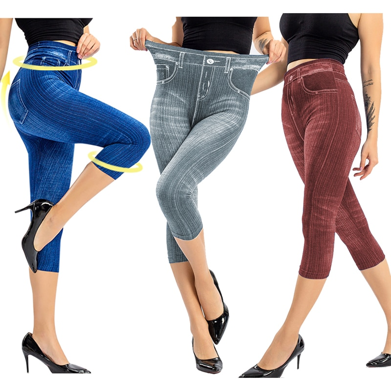Leggings femininos falsos, 3/4, cintura alta, elástico, slim, moda outono, casual, sólida, leggings macias