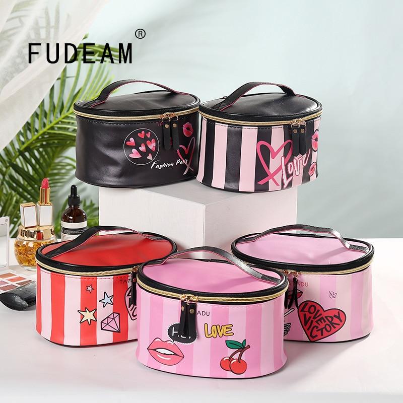 AliExpress - FUDEAM Leather Portable Women Cosmetic Bag With Mirror Travel Toiletries Storage Organize Handbag Waterproof Washing Makeup Bag