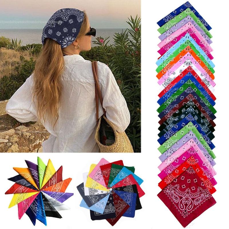 Vintage Bohemia Style Bandana Square Scarf Headband For Women Men Face Mask Cross Turban Bandanas Hair Tie Headscarf Headwear