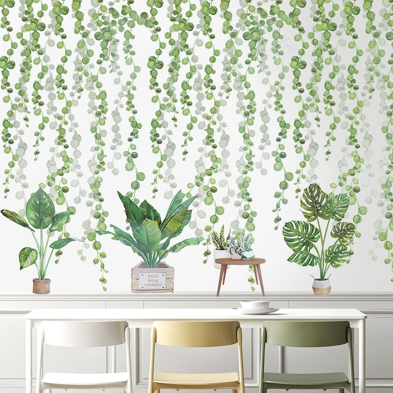 AliExpress - Tropical Leaves Wall Stickers Green Plant Bonsai Flower Bird PVC Removable Stickers For Kids Room Home Living Wall Decals Murals