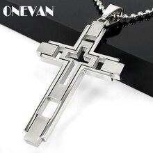 Croix collier pour hommes bijoux à la mode en acier inoxydable religieux Christian HZ noir gothique croix pendentif & collier pour hommes cadeaux