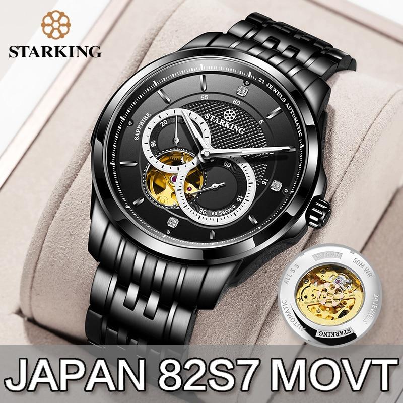 STARKING-ساعة رجالية MIYOTA 82S7 ، ساعة يد من الفولاذ المقاوم للصدأ ، هيكل عظمي ، ميكانيكية ، مضيئة ، ياقوت أزرق ، مقاومة للماء حتى 50 متر
