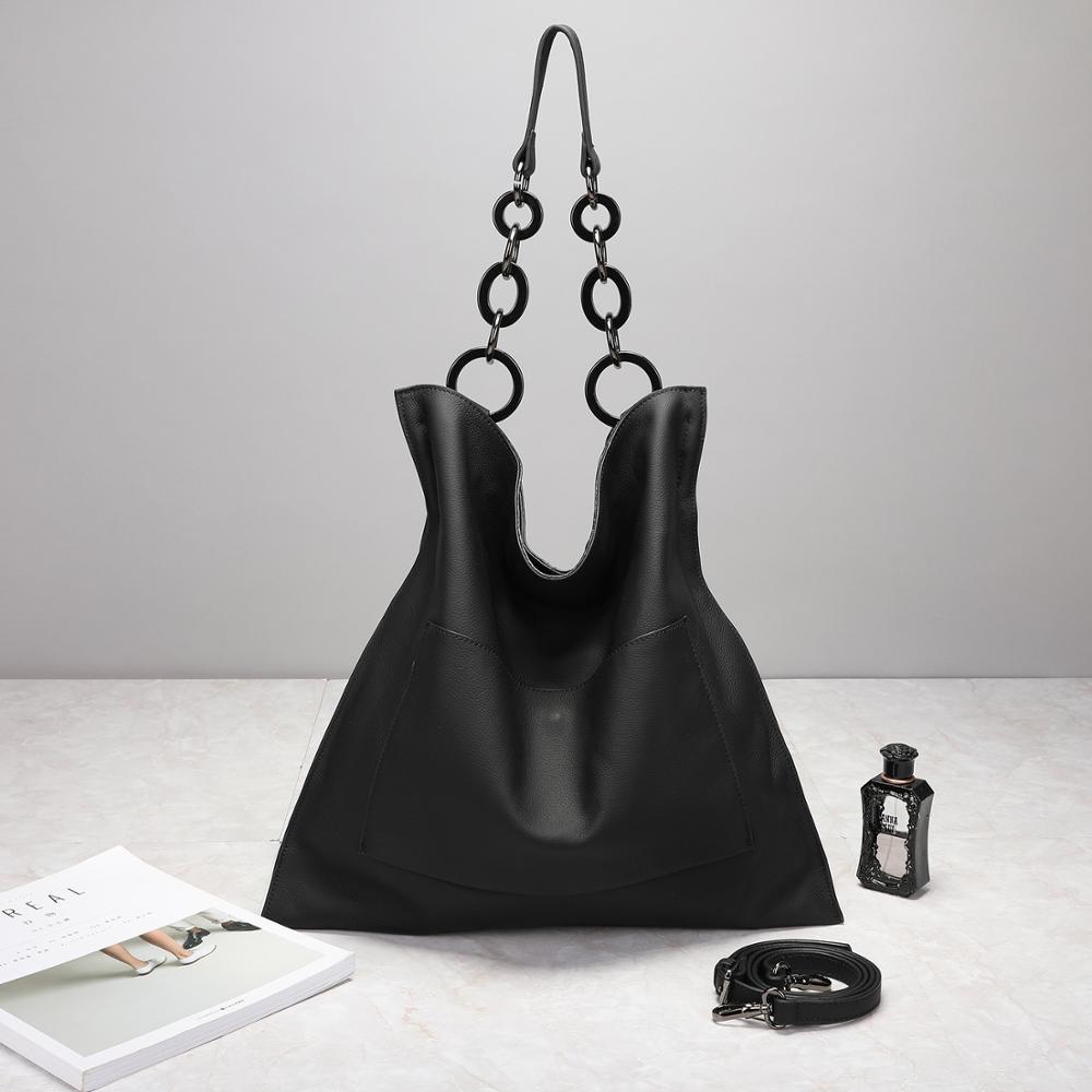 حقيقي جلد البقر المرأة عادية كبيرة اليد سلسلة حقيبة كتف حقيبة يد لينة خمر جودة عالية