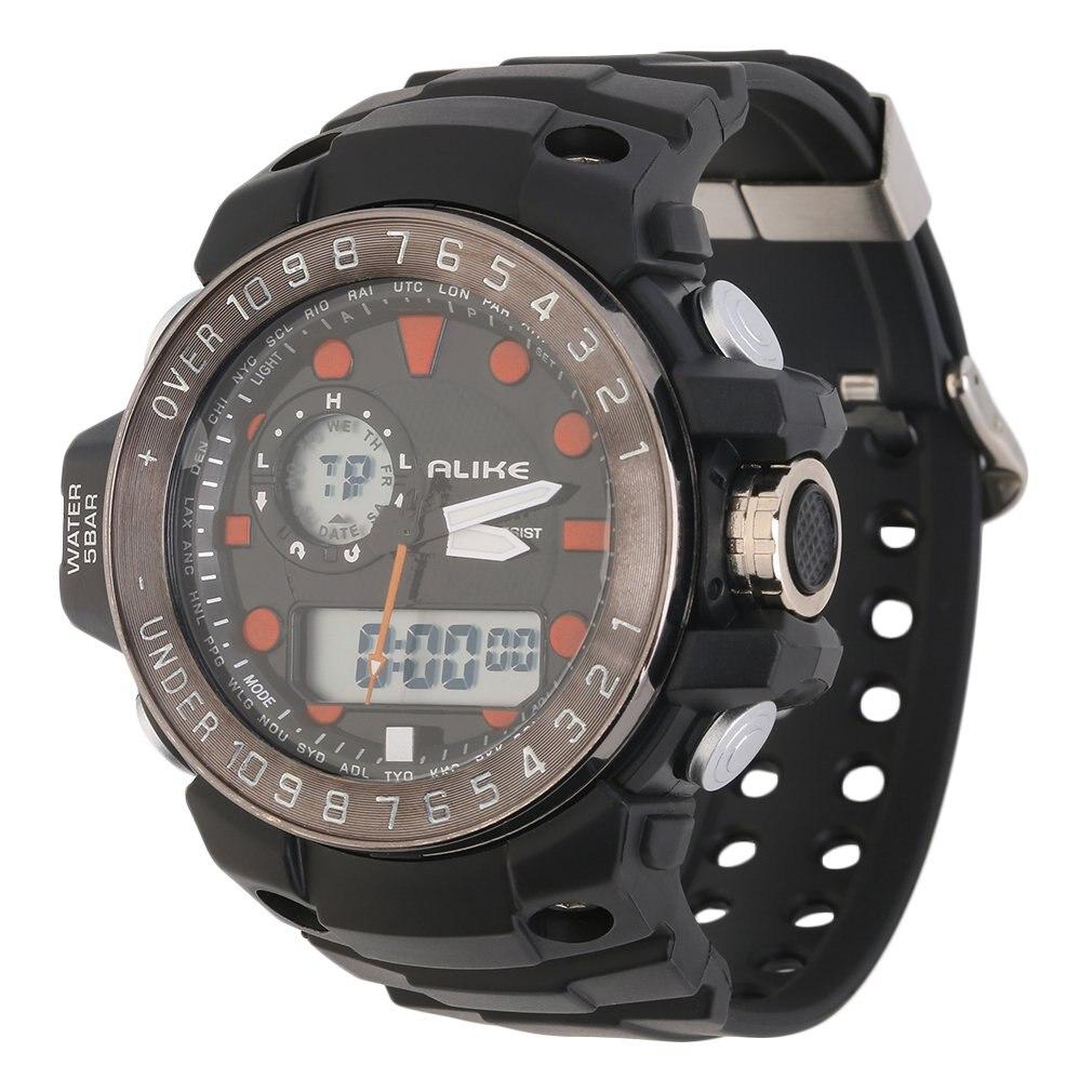 Big Verkauf Digitale Gummiband Sport Datum Chronograph LED Männer Armbanduhr Rot Und Blau Zweiten Hand