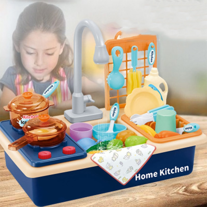 Children Kitchen Sink Toy Washing Dishes Pretend To Play House Toys Kitchen Tableware Toy Set Girl Educational Toys недорого