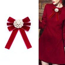I-remiel Creative coréen Vintage perle cristal noeud broche chemise solide tissu Corsage cravates pour accessoires de vêtements de mariage
