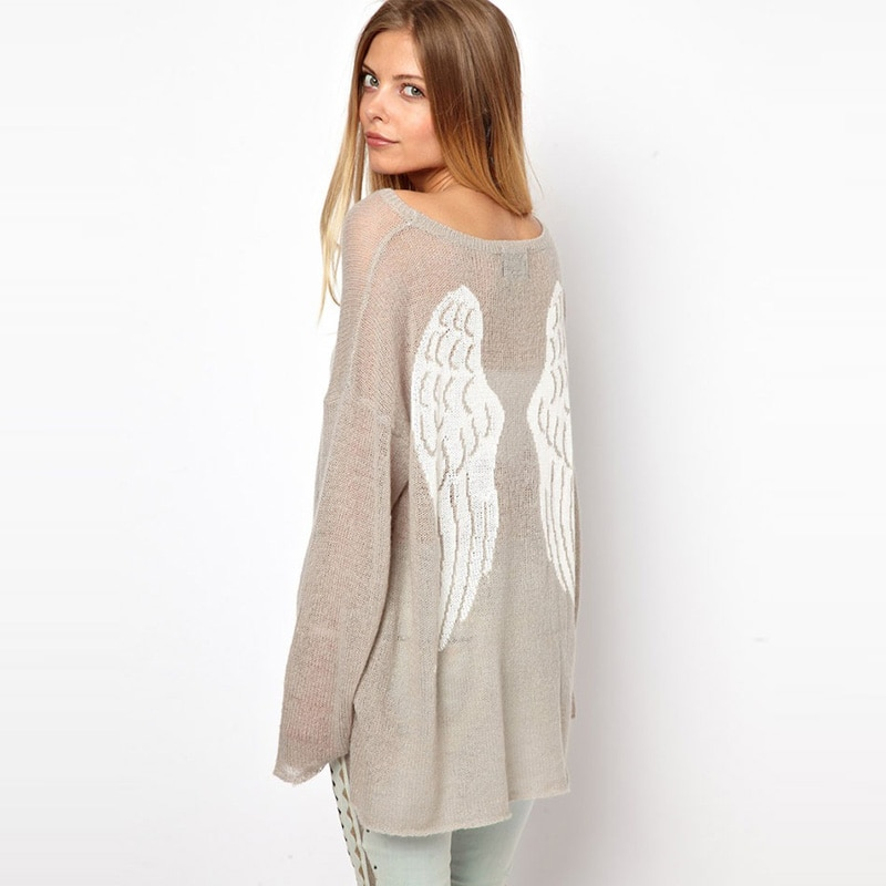 2021 European style women's classic brand loose angel wings sweater pullover sexy casual knitted oversized sweater top trend enlarge