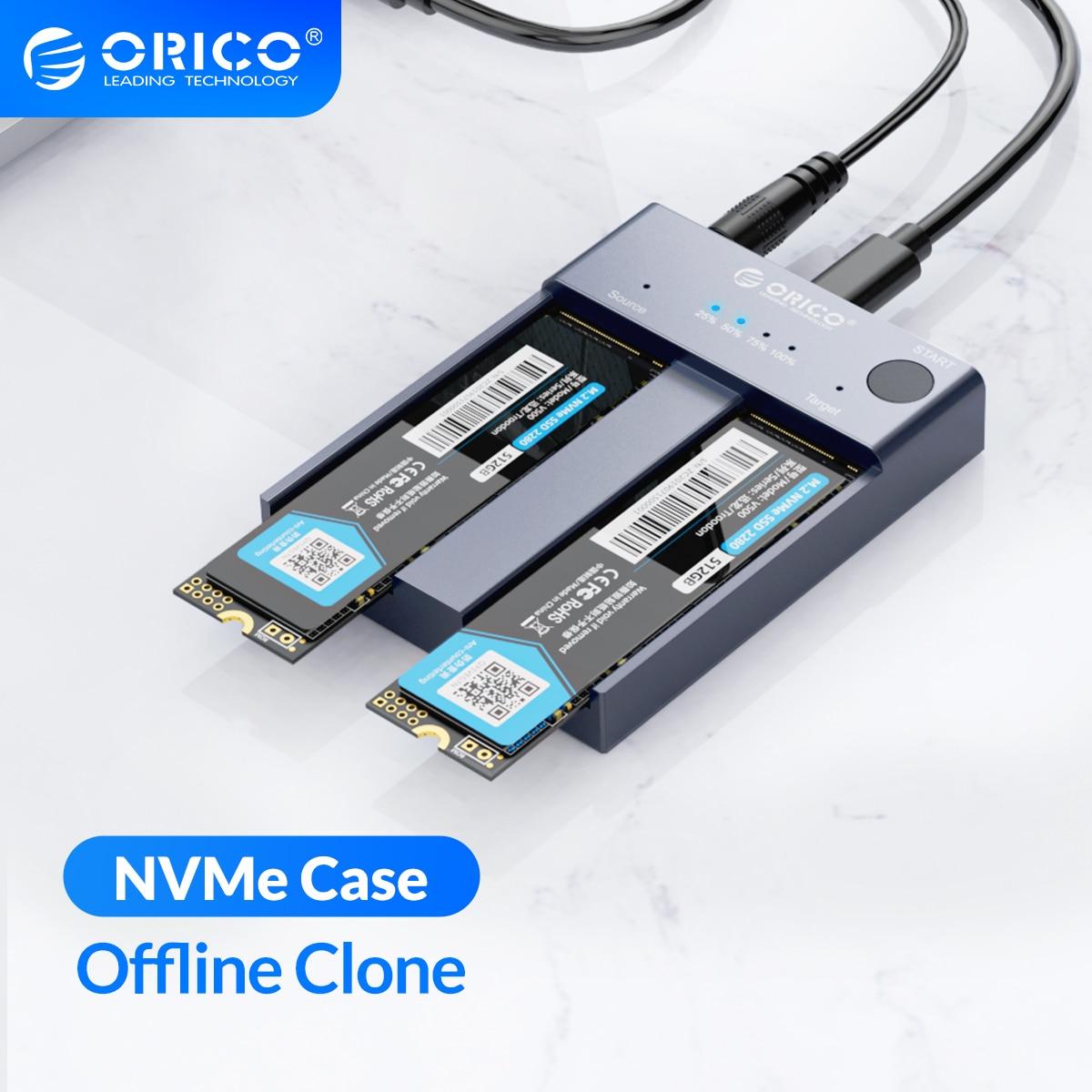 ORICO المزدوج خليج M.2 NVME SSD الضميمة حاليا استنساخ USB C 3.1 Gen2 10 جيجابايت مفتاح M & M/B مفتاح NVME بكيي وسيط تخزين ذو حالة ثابتة/ القرص الصلب قارئ