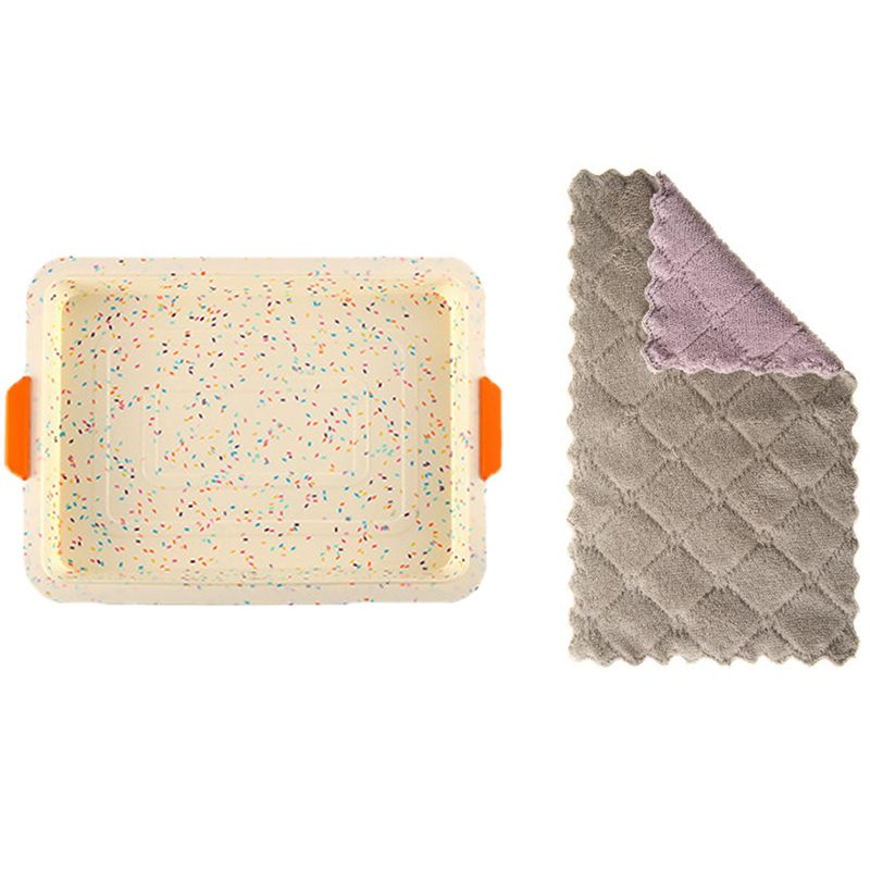 1x bandeja de horno de silicona cuadrada molde para pasteles utensilios para horneat DIY molde de Pan colorido y paquete de 12 toallas de tela de cocina