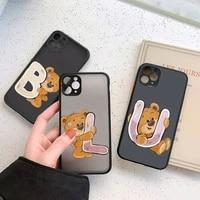 luxury bear letters phone case for iphone 12 11 7 8 plus mini x xs xr pro max matte transparent cover