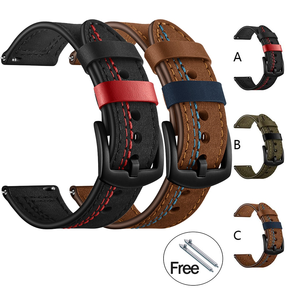 Leather Strap for Huawei Watch gt 2e Smart Strap for Samsung Galaxy Watch 46mm 42mm Bracelet Watchband 22mm 20mm Leather Strap недорого