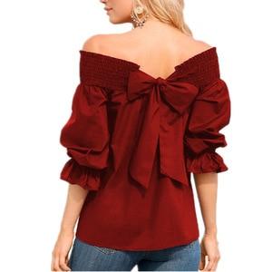 womens top shirt elegance retro bow slash neck style festivals tee ladies clothes 2020 women cute female t-shirt top plus size
