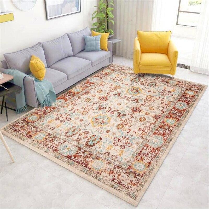 سجادة ريترو على الطراز الأوروبي مع زهور طازجة ، لغرفة النوم وغرفة المعيشة والسرير والمطبخ والحمام