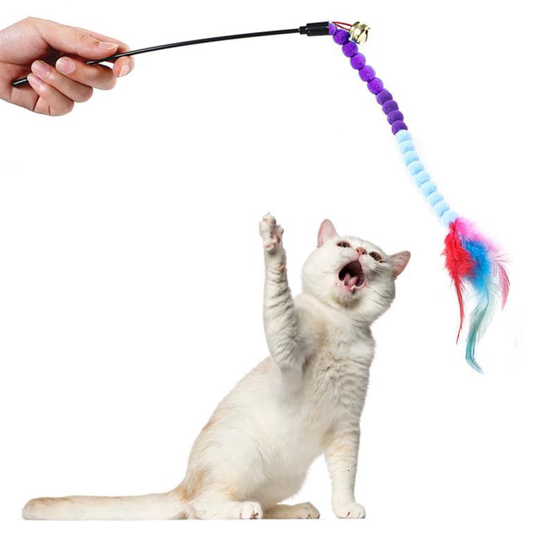 Legendog 1pc chat Teaser baguette en peluche artificielle plume cloche décor chat baguette jouet chat interactif jouet fournitures pour animaux de compagnie chat faveurs