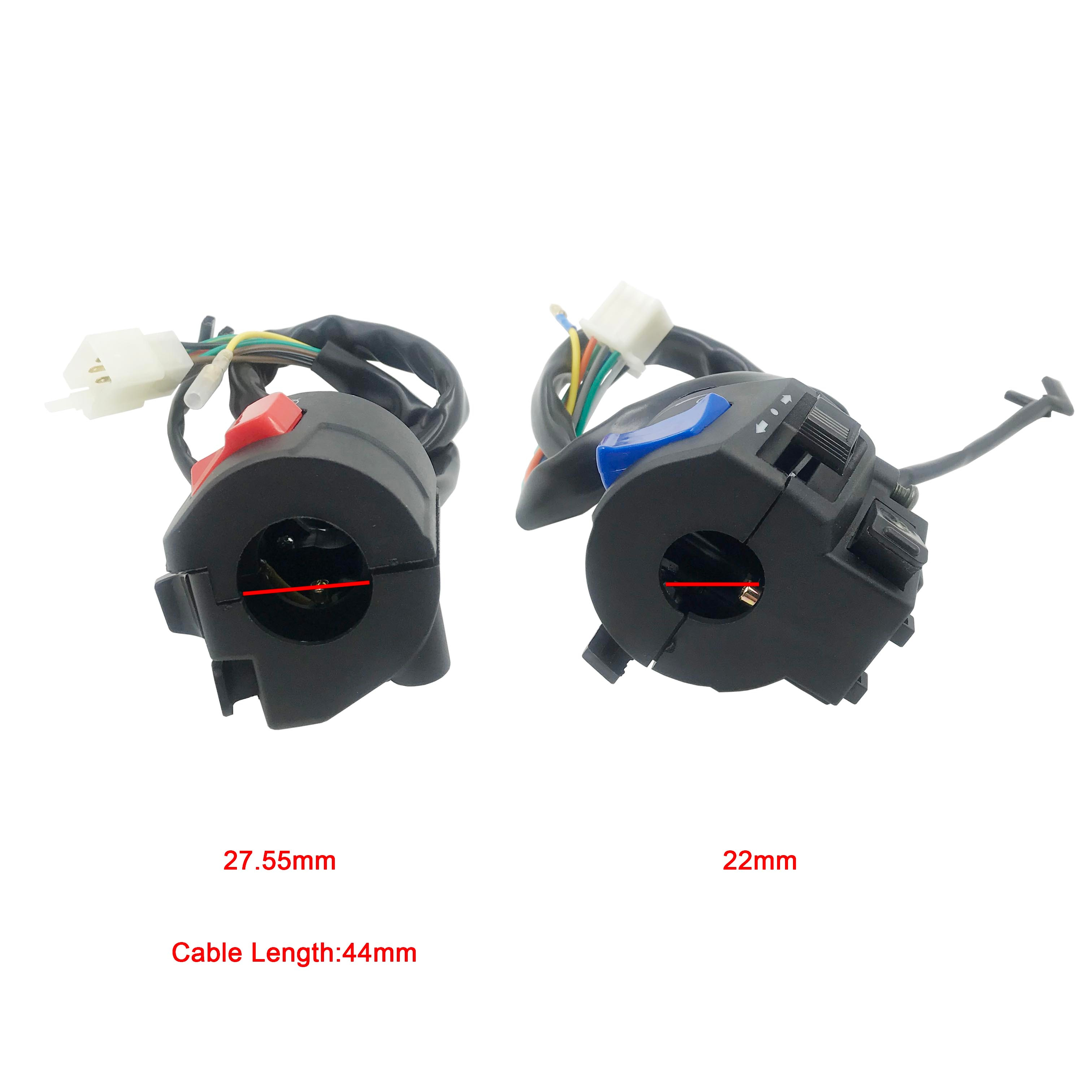1 Pair 12V DC Right and Left side, Universal Motorcycle Control Switch 7/8 22cm Handlebar