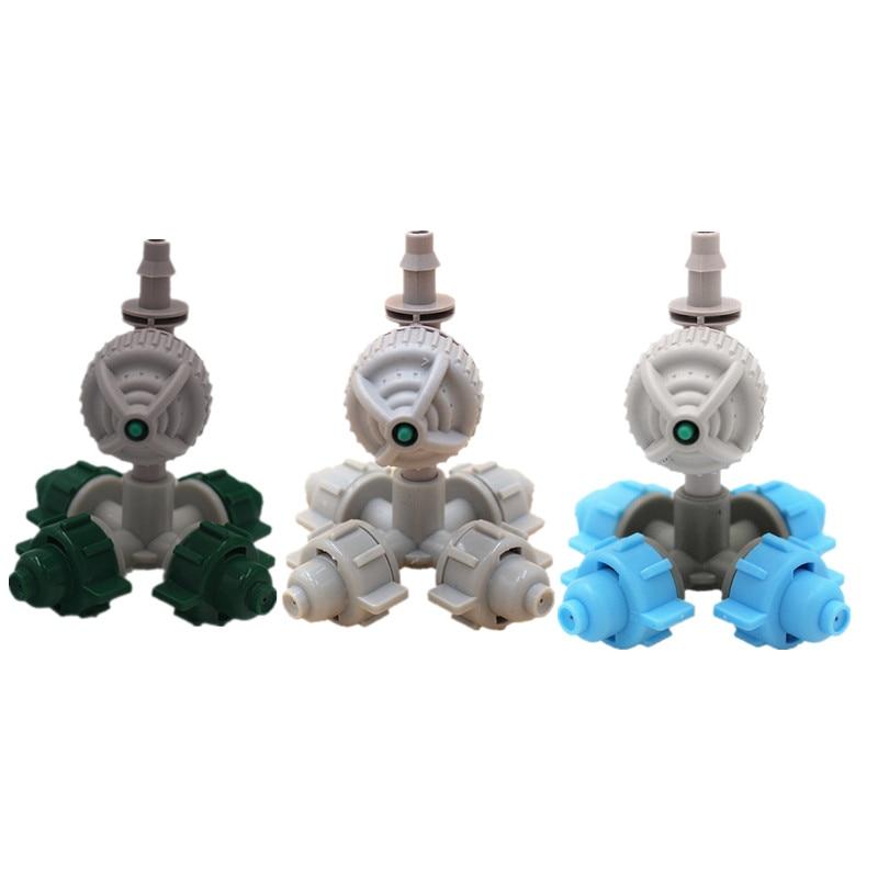 ¡Envío rápido! 20 piezas aspersor nebulizador de 4 boquillas con accesorios de riego por goteo de microirrigación de invernadero blanco antigoteo