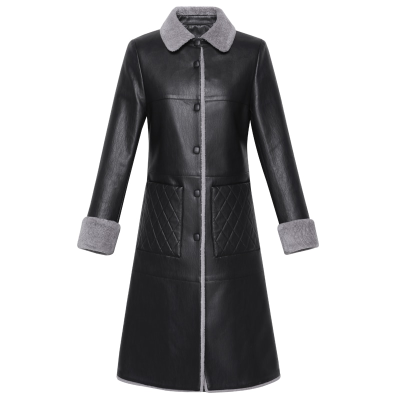 Autumn Winter Women Fur Leather Long Coat  Leather Fur Jacket Plus Size Women Coats High Quality Warm Soft Lamb Fur Outerwear enlarge