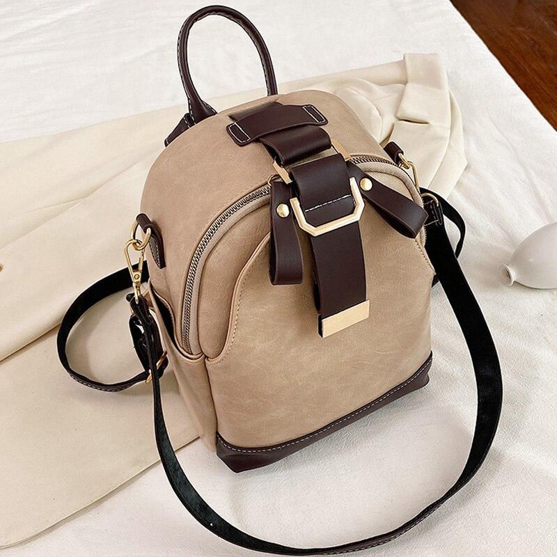 Модный женский кожаный рюкзак, маленький школьный ранец из искусственной кожи для девочек-подростков, винтажные двойные сумки на плечо | АлиЭкспресс