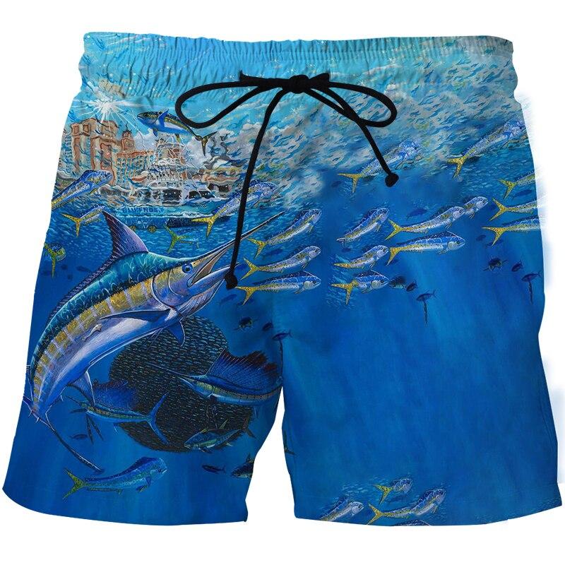 Пляжные шорты с 3D принтом рыбы, мужские пляжные брюки, быстросохнущие пляжные шорты, модные плавки, пляжные брюки с графическим рисунком