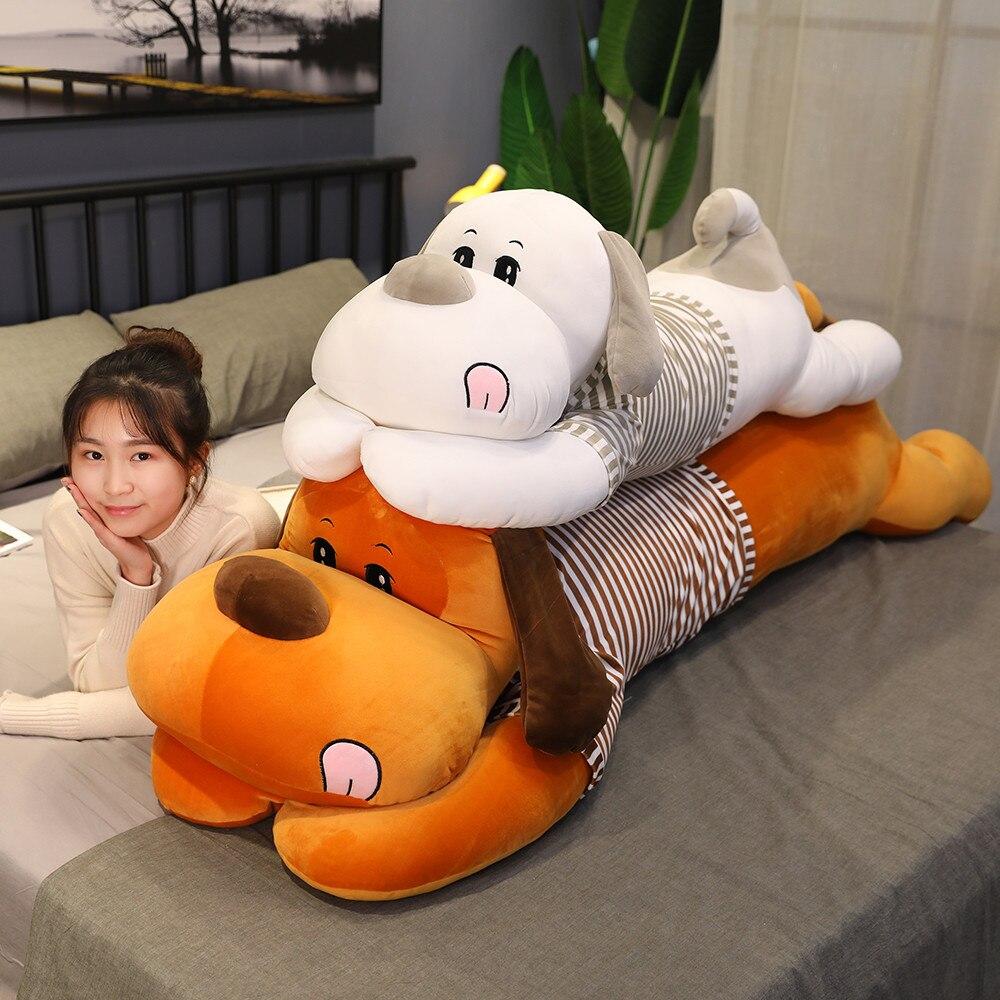 100cm New Soft Dog Plush Toys Couple Striped Big Size Stuffed Animal Dog Doll Home Decoration Sleep Pillow Children Girl Gift