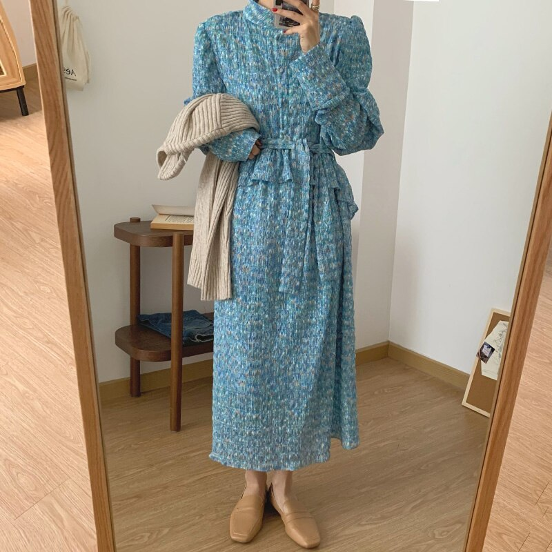 Women Vintage Loose Print Long Sleeve A-line Maxi Vestidos Autumn Spring New Elegant Ruffles Dresses