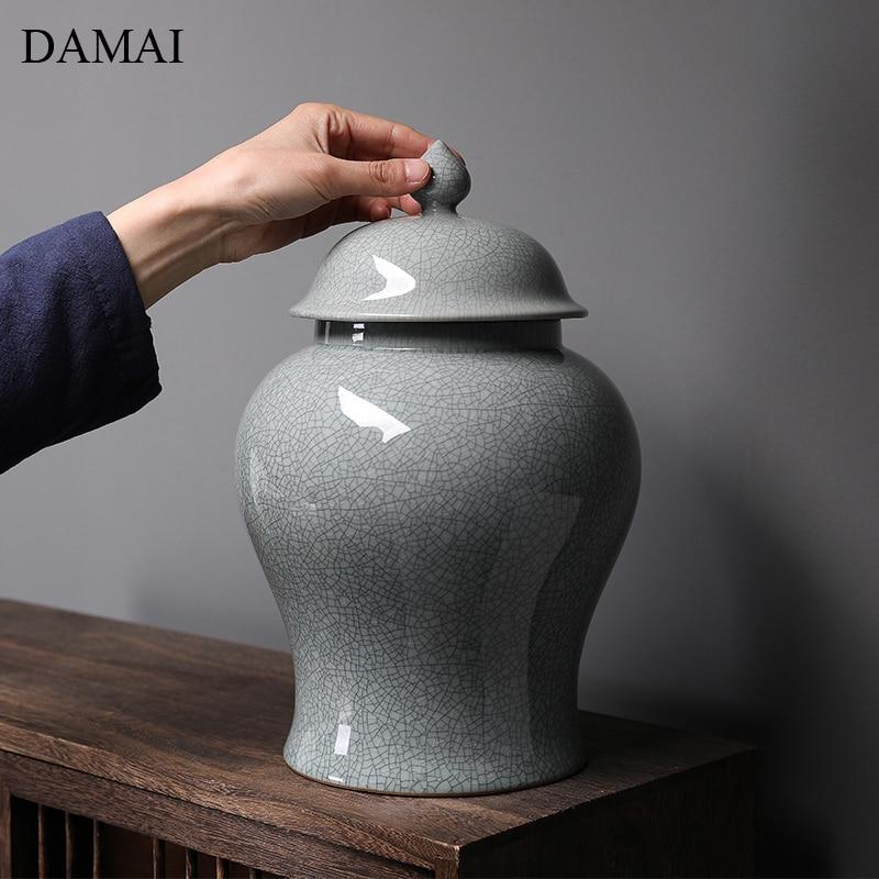 حاوية شاي خزفية صينية عتيقة ، برطمانات تخزين أوراق الشاي ، مزخرفة ، بسيطة ، زرقاء وبيضاء