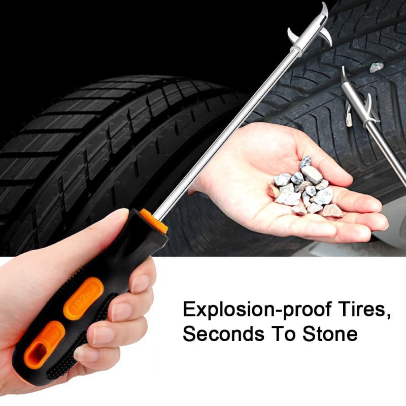1 pieza de herramienta de limpieza de piedra de neumático de coche multifuncional de aleación de aluminio hebilla de piedra Protector de neumático de piedra herramientas de limpieza de piezas de coche