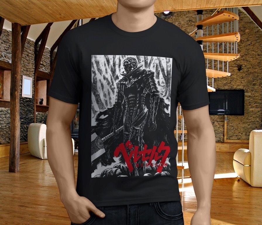 Nova berserk guts japão anime manga crânio cavaleiro preto camiseta masculina de boa qualidade feito sob encomenda t camisas