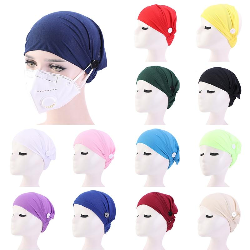 2020 NEW Women Turban Hat Hijab Cap Elastic With Button Hat Solid Nightcap Nurse Hat Femme Cotton Headscarf Hair Accessories