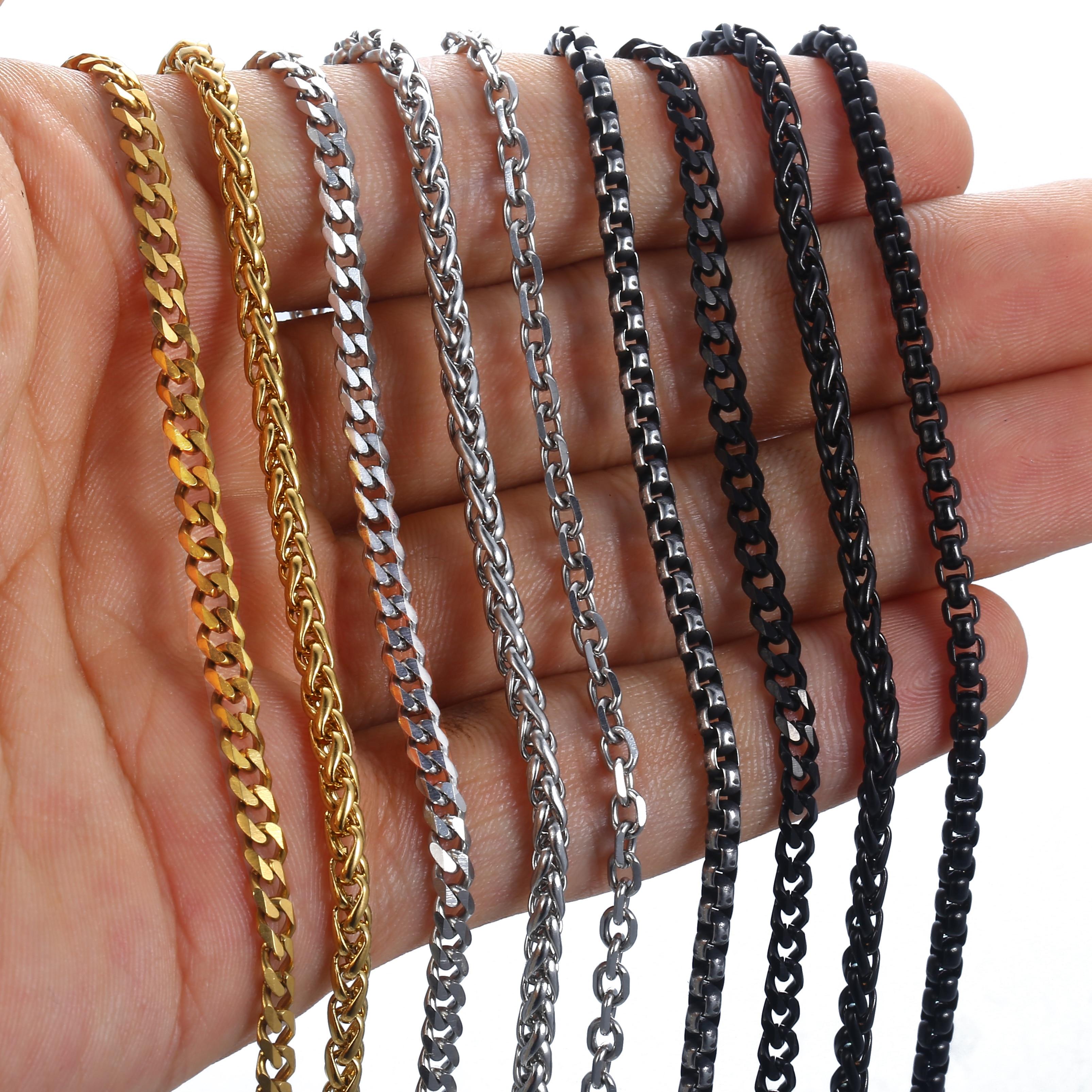 Pulseras de cadena para hombres y mujeres de 2/3mm, Color negro, dorado, plateado, de acero inoxidable, con Cable curvado, caja redonda cubana trenzada de trigo KBB13A