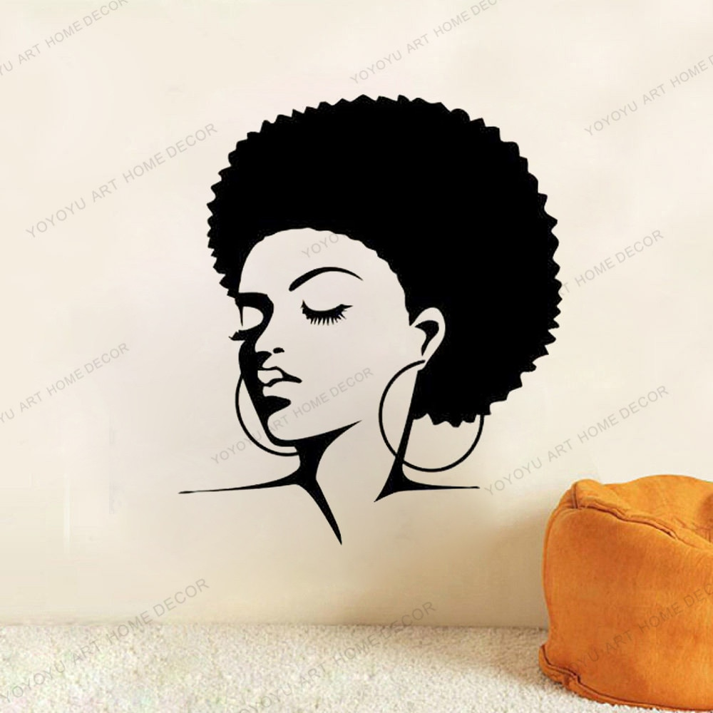 African Woman Wall Decal Vinyl Sticker Decals Home hair salon essential Bedroom Interior Beauty Salo